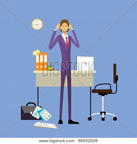 Businessman hold hands on temples head, business man concept of stressed, headache flat