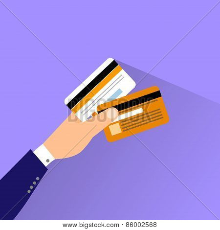 credit cars in hand flat design vector