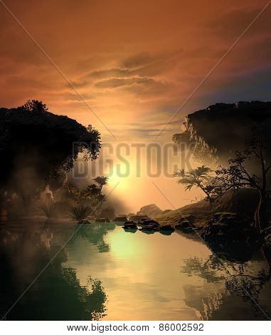 3D illustration of sunset landscape