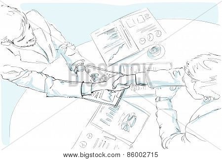 Business people handshake sketch desk with contract sign up documents top angle view