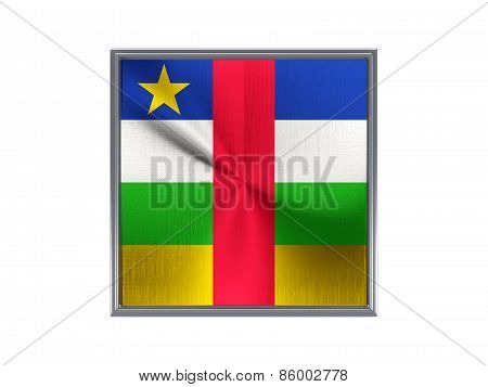 Square Metal Button With Flag Of Central African Republic