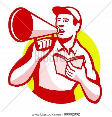 Worker with Book and Bullhorn Retro