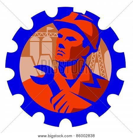 Construction Worker Mechanic Spanner Retro