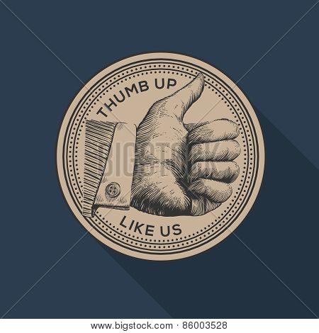 Thumb up label, social networks, vintage gravure style