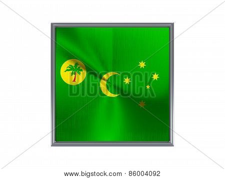 Square Metal Button With Flag Of Cocos Islands