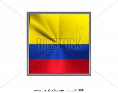 Square Metal Button With Flag Of Colombia