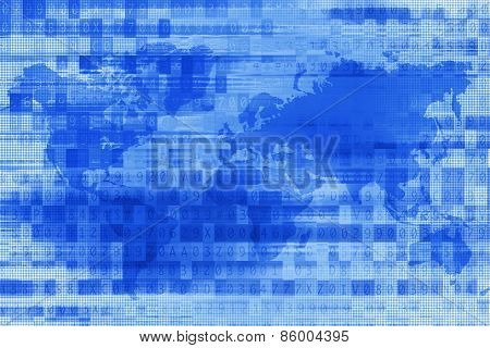 Blue Digital World Background
