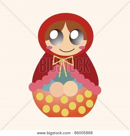 Matryoshka , Russian Traditional Wooden Doll, Vector Pattern, Elements,eps