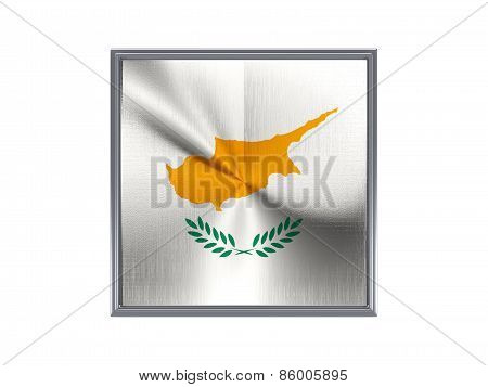 Square Metal Button With Flag Of Cyprus