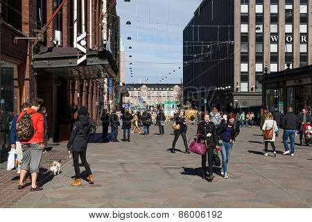 Helsinki, Finland - March 29:the Brisk Movement Of People On The Street Of Helsinki,