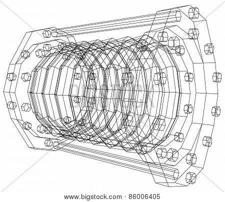 Wire-frame  industrial equipment oil flowmeter. EPS 10 vector format. Tracing illustration of 3d