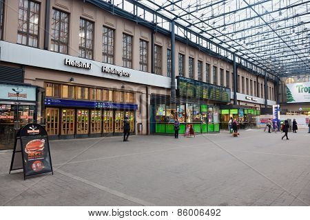 Helsinki, Finland - January 07:railway Station Of The City Of Helsinki,