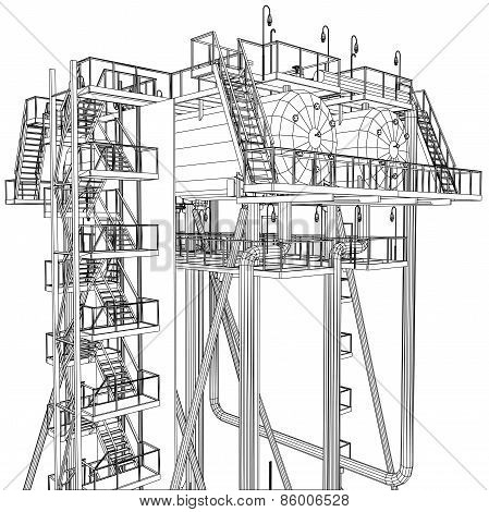 Wire-frame Oil and Gas industrial equipment. Tracing illustration of 3d. EPS 10 vector format