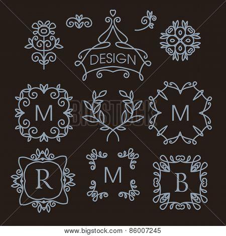 set of floral line design elements