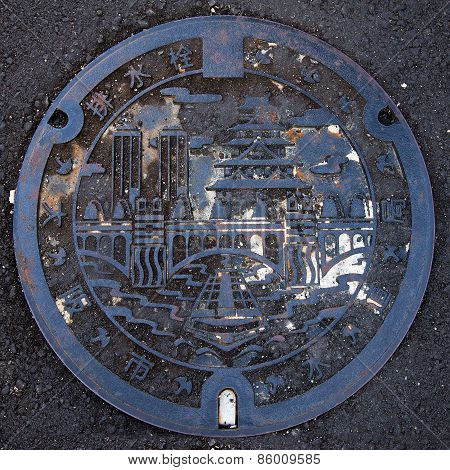 Manhole cover in Osaka