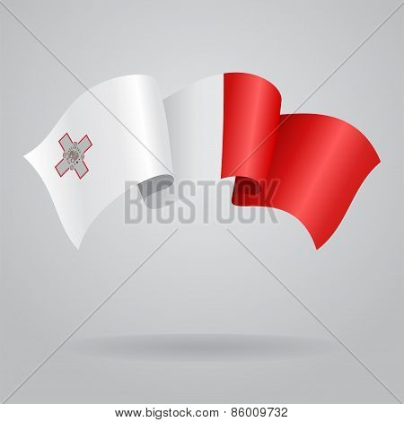 Maltese waving Flag. Vector illustration