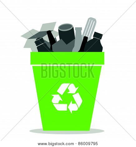 Green recycling bin