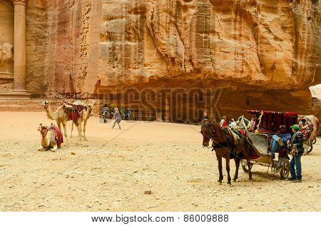 Jordan, Petra. Souvenir Trade, Camel Riding, Horse Carriage