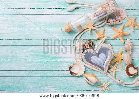Marine Items On Wooden Background.