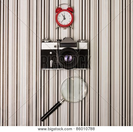 Camera On Stripy Background