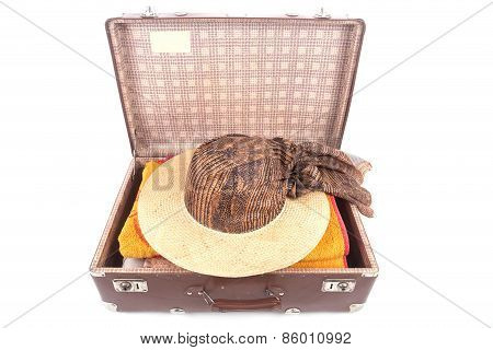 Open Vintage Suitcase With Clothing