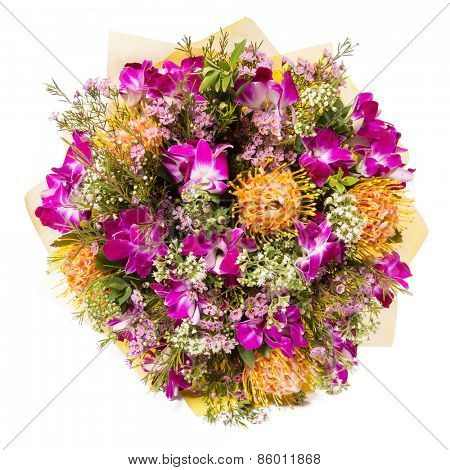 Bouquet of flowers top view isolated on white