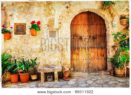 authentic old streets in Valdemossa village, Mallorca