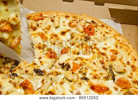 Few Pieces Of Tasty Pizza In Box
