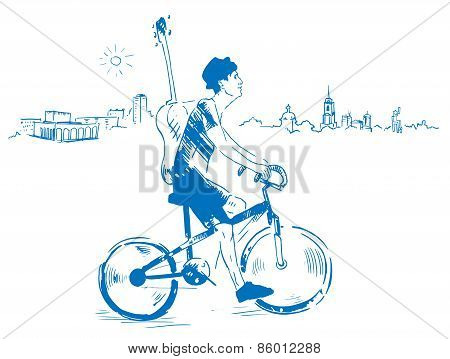 Musician with guitar rides a bicycle