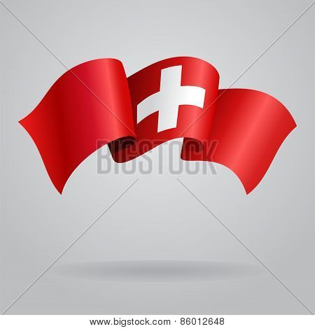 Swiss waving Flag. Vector illustration