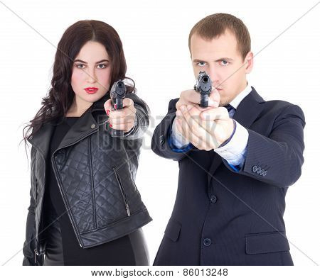 Young Attractive Woman And Handsome Man Posing With Gun Isolated On White