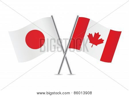 Japanese and Canadian flags. Vector illustration.