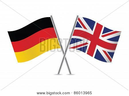 German and British flags. Vector illustration.
