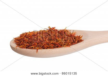 Saffron In A Wooden Spoon,  Isolated On A White Background