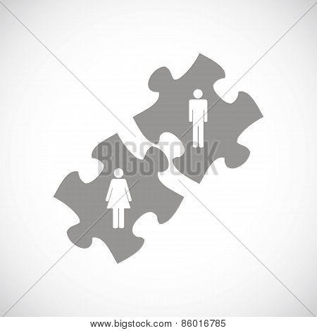 Love puzzle black icon