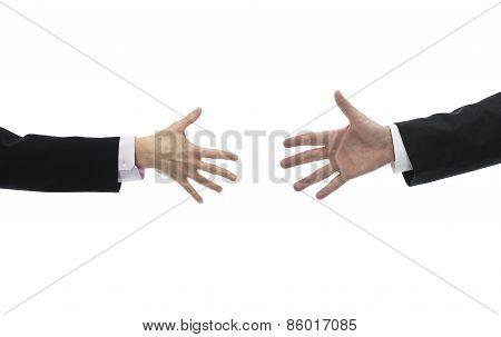Businessman And Businesswoman Reaching Hands