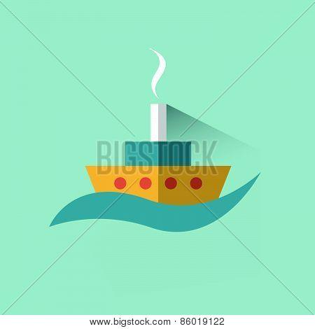 Ship, Boat Sign. Flat Vector Design .