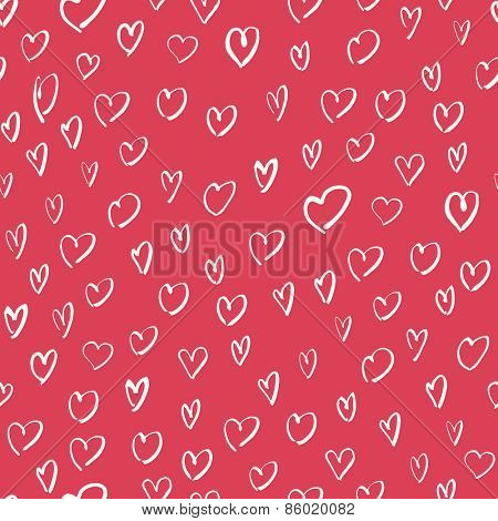 Pink seamless Hand Drawn Hearts Pattern