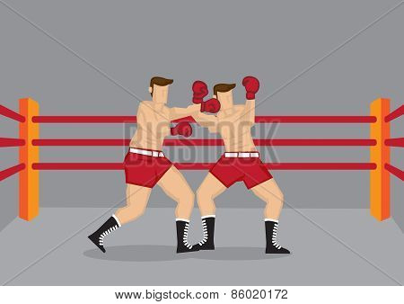 Boxers Punching In Boxing Ring Vector Illustration