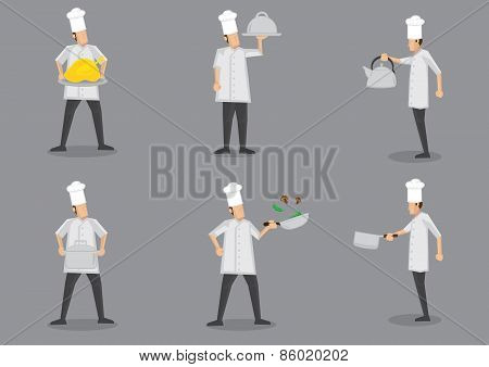 Cooking Chef Cartoon Characters Vector Illustration