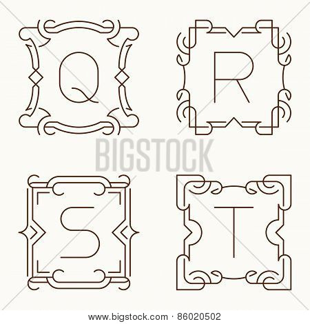 Vector mono line monograms. Q, R, S, T.