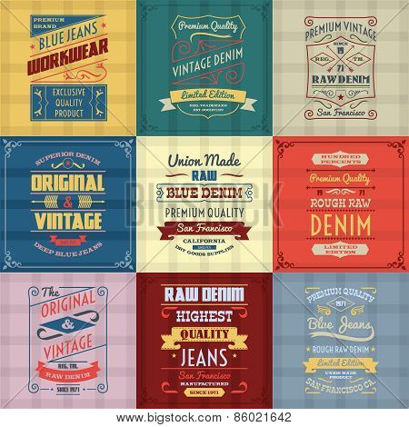 Denim typography background color set