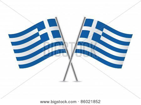 Greek Flags. Vector illustration.