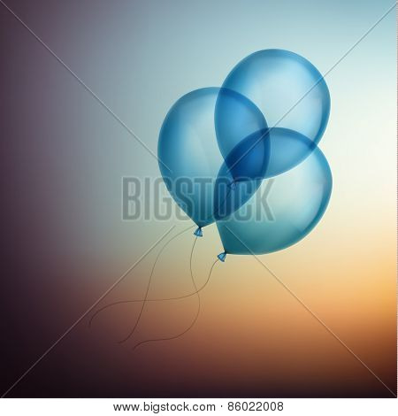 Three blue balloons flying up to the sky - - eps10