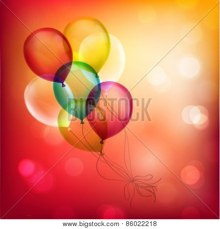 Bunch of balloons on colorful defocused background - eps10
