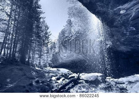 Landscape With Waterfall, Forest And Rocks In Soria, Spain