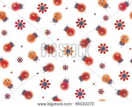 Vector seamless pattern ladybugs and flowers.