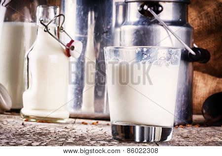 Glass Of Fresh Milk In Country Setting