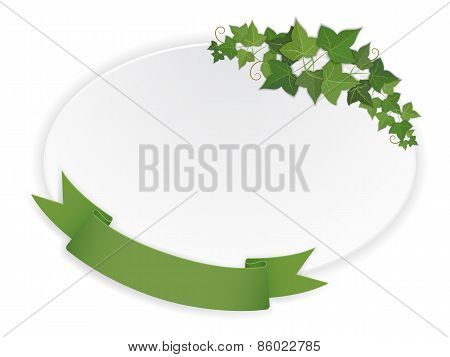 Ellipse Banner With Ribbon And Vine