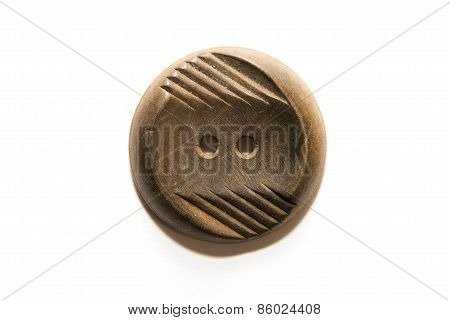 One Big Vintage Wood  Button On  White Background
